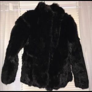 NWOT! Black Genuine Rabbit Fur Jacket Size L